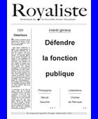 Defendre la fonction publique | La Nouvelle Action Royaliste
