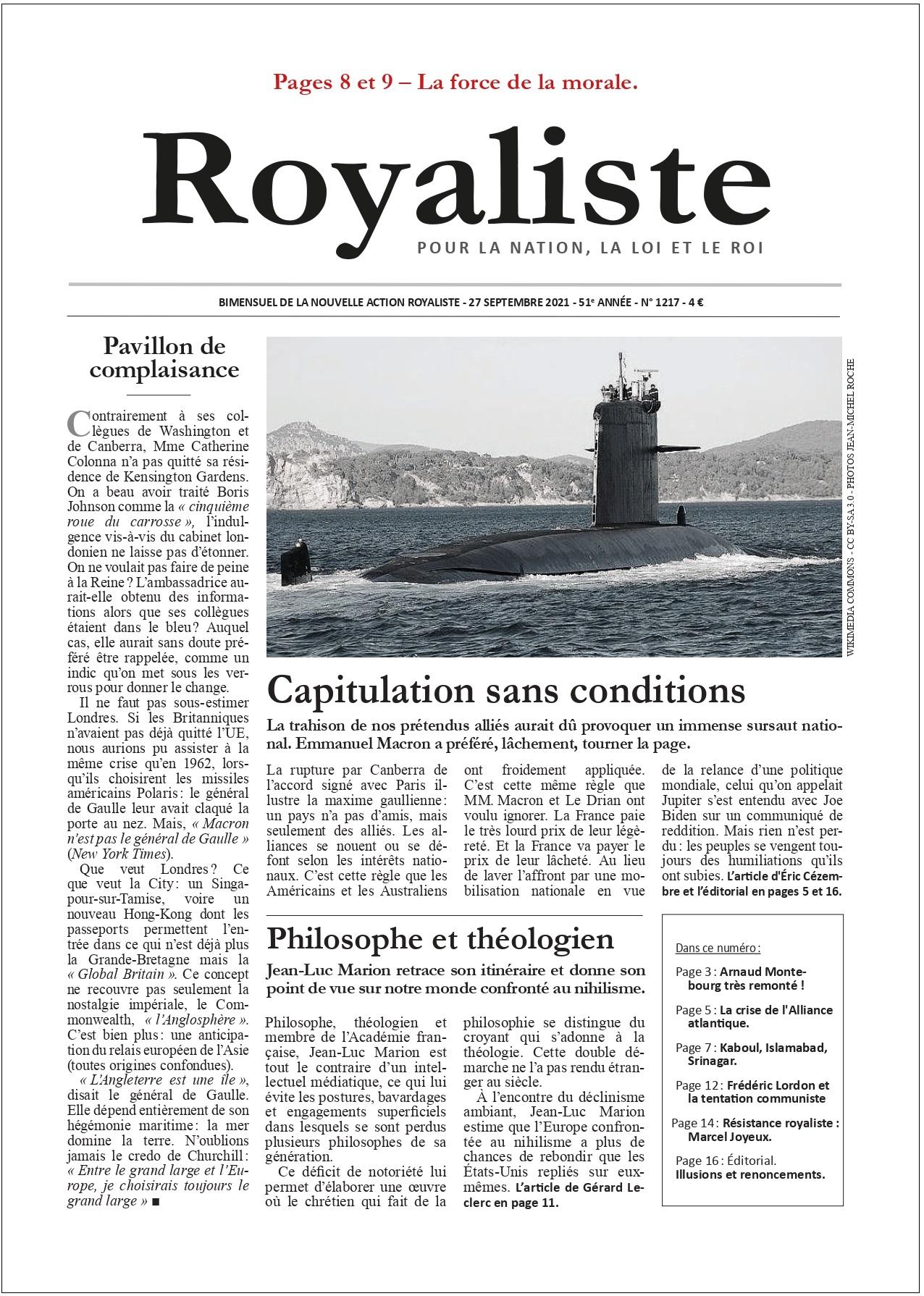 Capitulation sans conditions   La Nouvelle Action Royaliste
