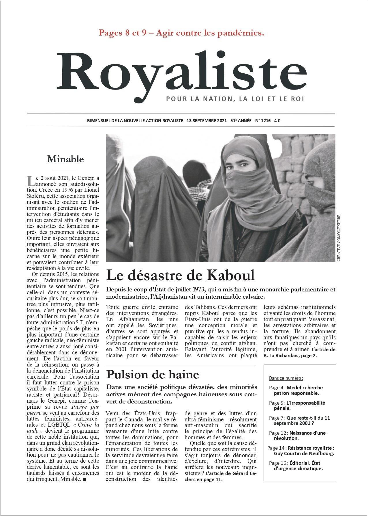 Le désastre de Kaboul | La Nouvelle Action Royaliste