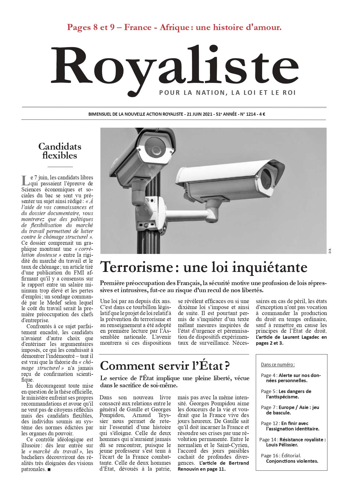 Terrorisme : une loi inquiétante | La Nouvelle Action Royaliste