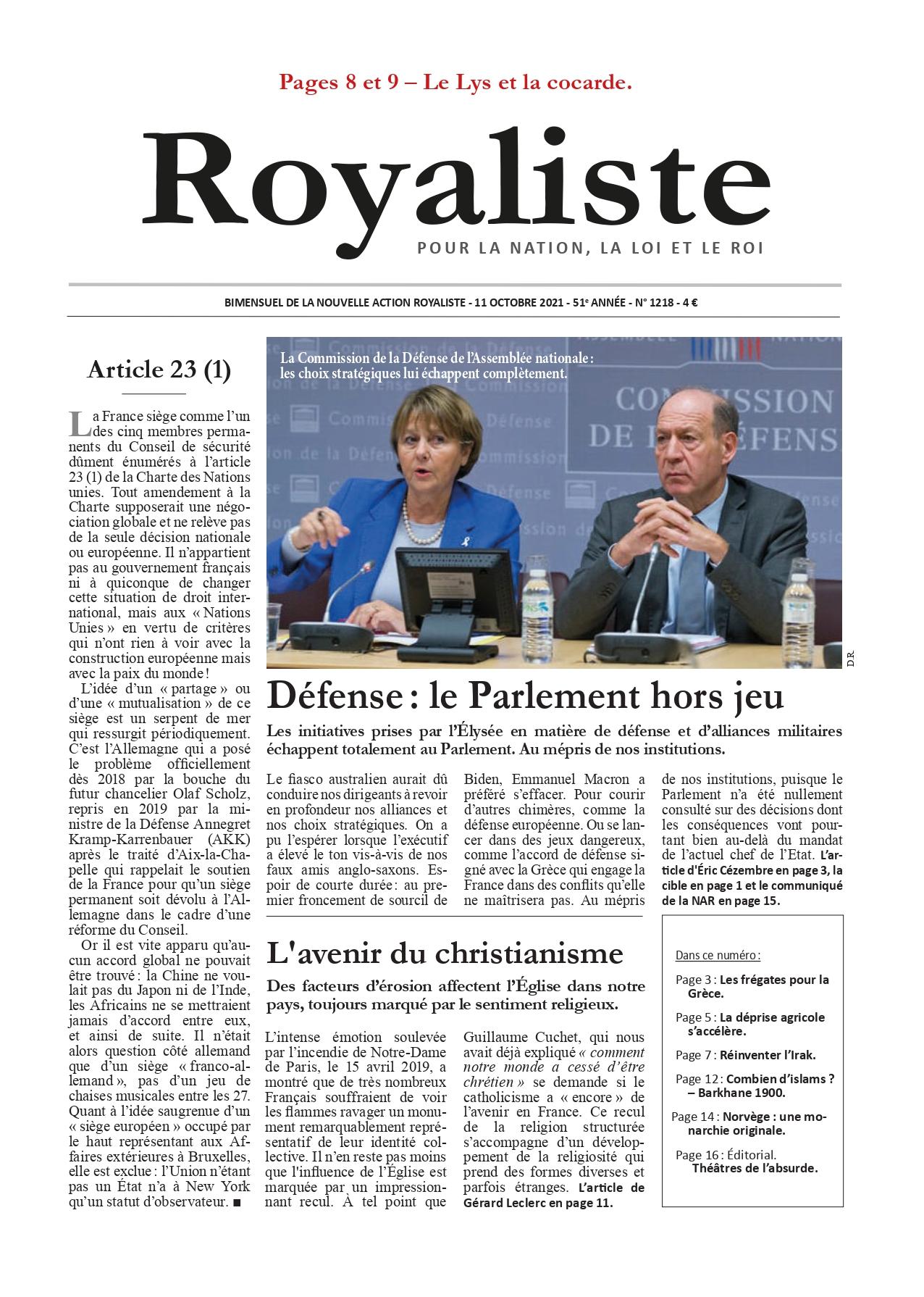 Défense : le Parlement hors jeu | La Nouvelle Action Royaliste