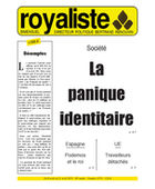 La panique indentitaire | La Nouvelle Action Royaliste