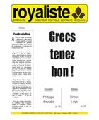 Grecs tenez bon ! | La Nouvelle Action Royaliste
